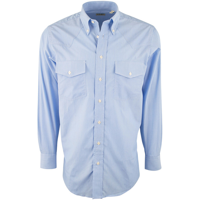 Gitman Bros. Blue Solid Textured Stripe Shirt - Front