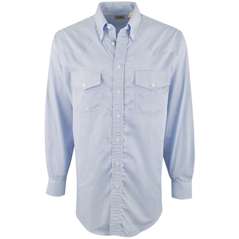 Gitman Bros. Blue Satin Check Shirt - Front