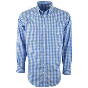 Gitman Bros. Blue Egyptian Check Shirt - Front
