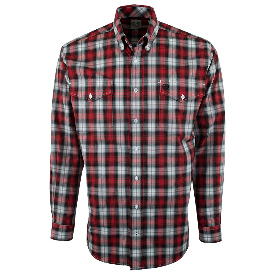 Cinch red and black plaid shirt pinto ranch for Dark red plaid shirt