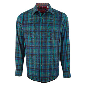 Robert Graham Galway Teal Plaid Shirt - Front