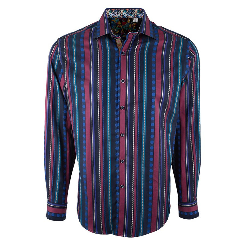 Robert Graham Navy Kelvingrove Stripe Shirt - Front
