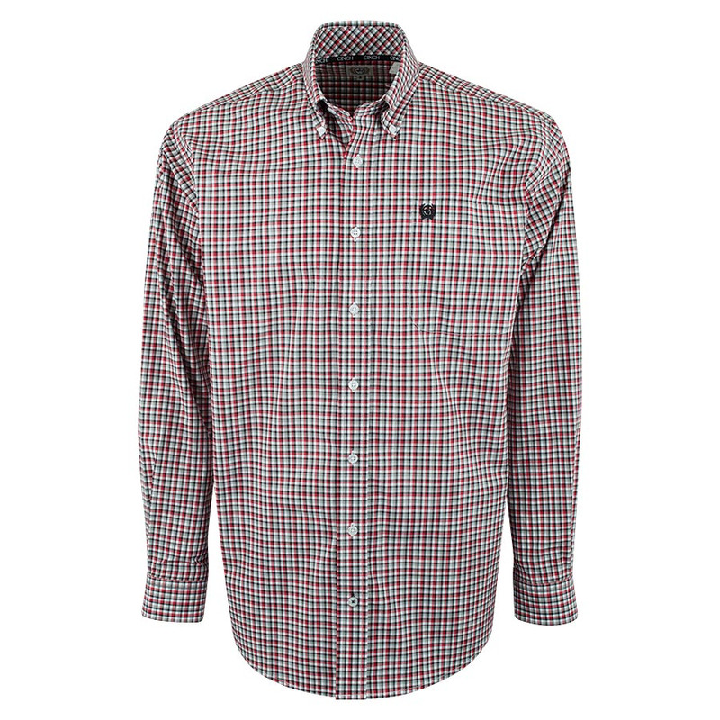 Cinch Red and Black Check Plain Weave Shirt - Front