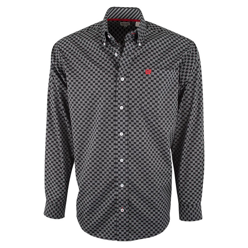 Cinch Black Checker Print Shirt - Front