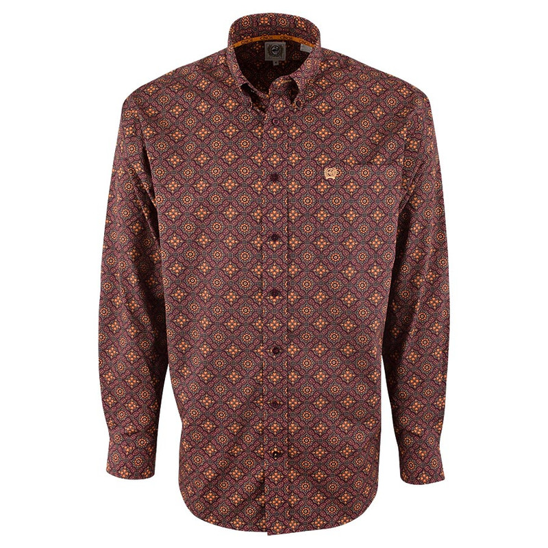 Cinch Burgundy Foulard Print Shirt - Front