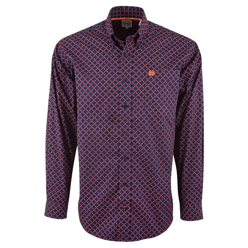 Cinch Navy Chain Print Plain Weave Shirt - Front