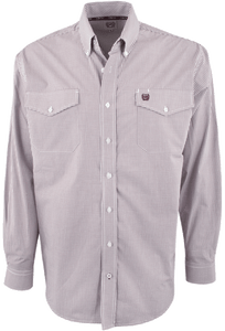 Cinch Burgundy and White Mini Check Shirt - Front