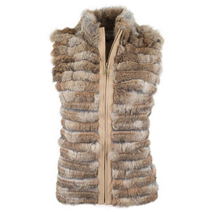 Metric Natural Layered Fur and Knit Vest - Front