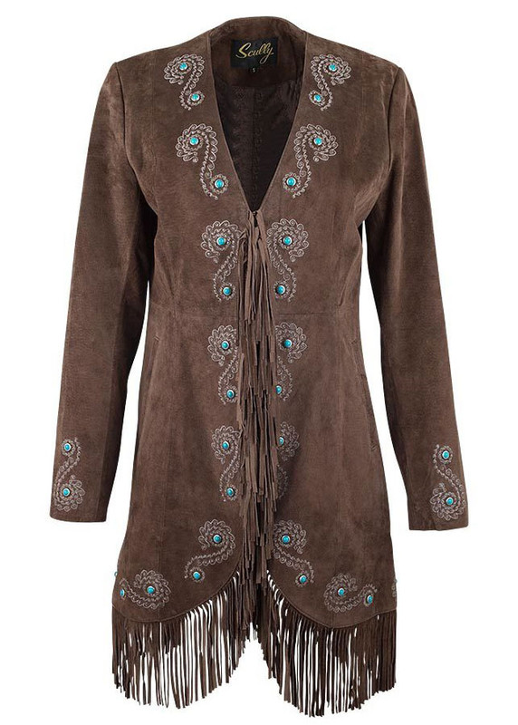 SCULLY WOMEN'S EMBROIDERED SUEDE FRINGE COAT