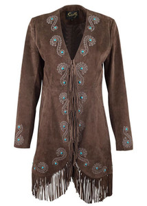 Scully Embroidered Suede Fringe Coat - Brown - Front