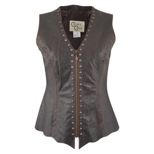 Cripple Creek Leather Vest with Studs - Front