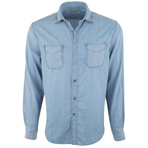 James Campbell Chambray Collins Tencel 2-Pocket Shirt  - Front