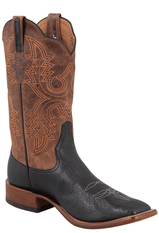 Rios of Mercedes Men's Black and Tan Smooth Ostrich Boots - Hero