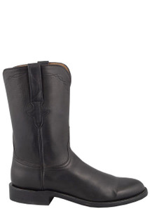 Lucchese Men's Black Burnished Jersey Calf Roper Boots - Side