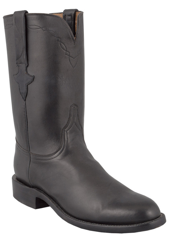 Lucchese Men's Black Burnished Jersey Calf Roper Boots
