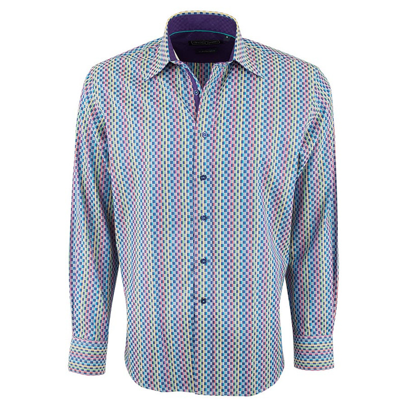 David Smith Australia Indigo Cubes Shirt - Front