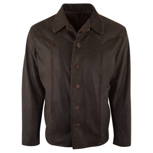 Jose Luis Lamb Whipstitch Rancher Coat - Brown - Front