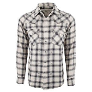 Ryan Michael Hawk Plaid Snap Shirt - Black - Front