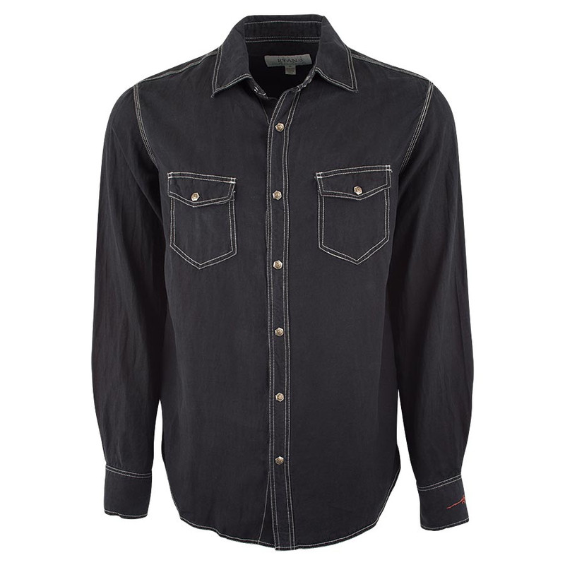 Ryan Michael Birdseye Textured Snap Shirt - Black - Front