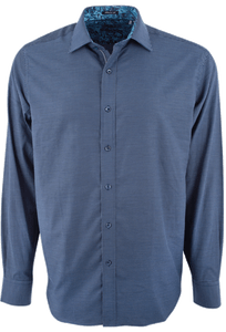 Bugatchi Navy Dobby Pick Stitch Shirt - Front
