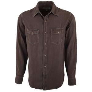 Ryan Michael Birdseye Textured Snap Shirt - Chocolate - Front