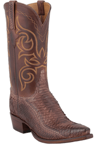 Lucchese Men's Pecan Sueded Python Boots - Hero