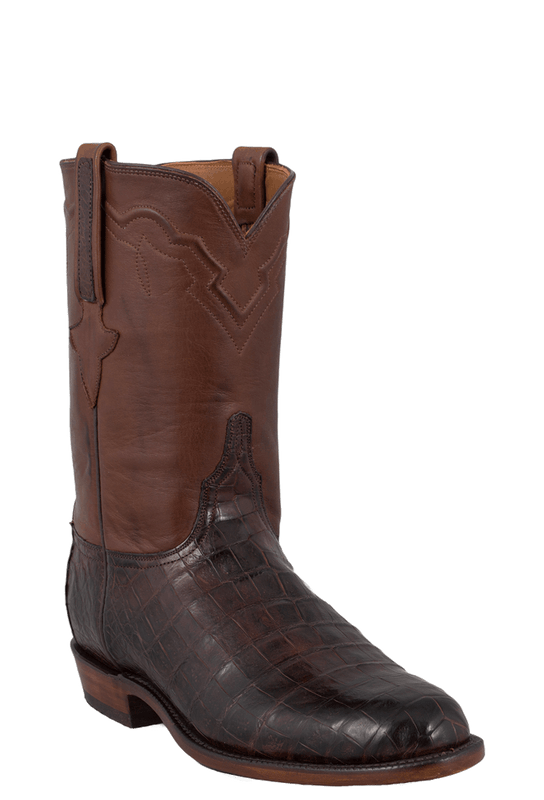 Lucchese Men's Barrel Brown Ultra Caiman Crocodile Roper Boots - Hero