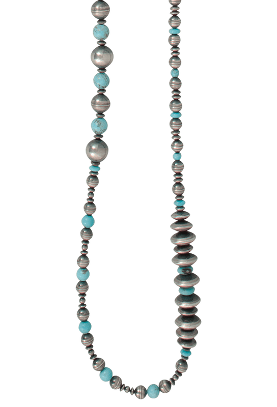 Turquoise Moon Antiqued Sterling Silver and Turquoise Necklace - Front