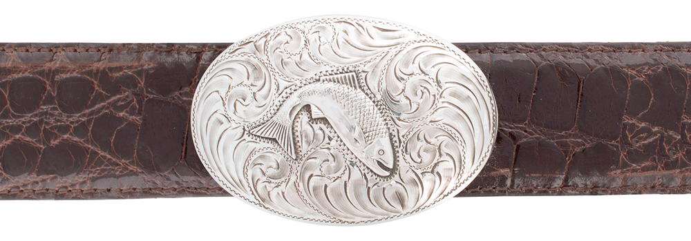 "Comstock Heritage Engraved Trout 1 1/2"" Trophy Buckle"
