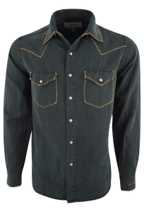Ryan Michael Silk Linen Blend Whipstitch Shirt - Black - Front