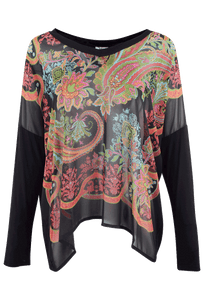 Ivy Jane Black Scarf Print Top - Front