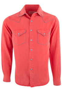 Ryan Michael Silk Linen Blend Whipstitch Shirt - Tomato - Front
