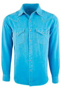 Ryan Michael Silk Linen Blend Whipstitch Shirt - Bluejay - Front