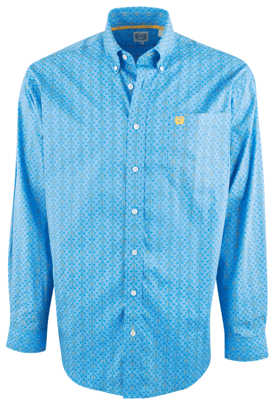 Cinch Blue and Yellow Diamond Print Stripe Shirt - Front