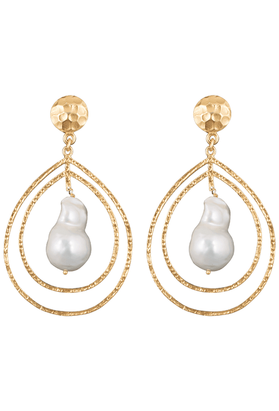 Christina Greene Pearl Teardrop Earrings