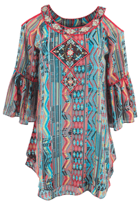 Vintage Collection Santa Fe Nights Cold Shoulder Tunic - Front