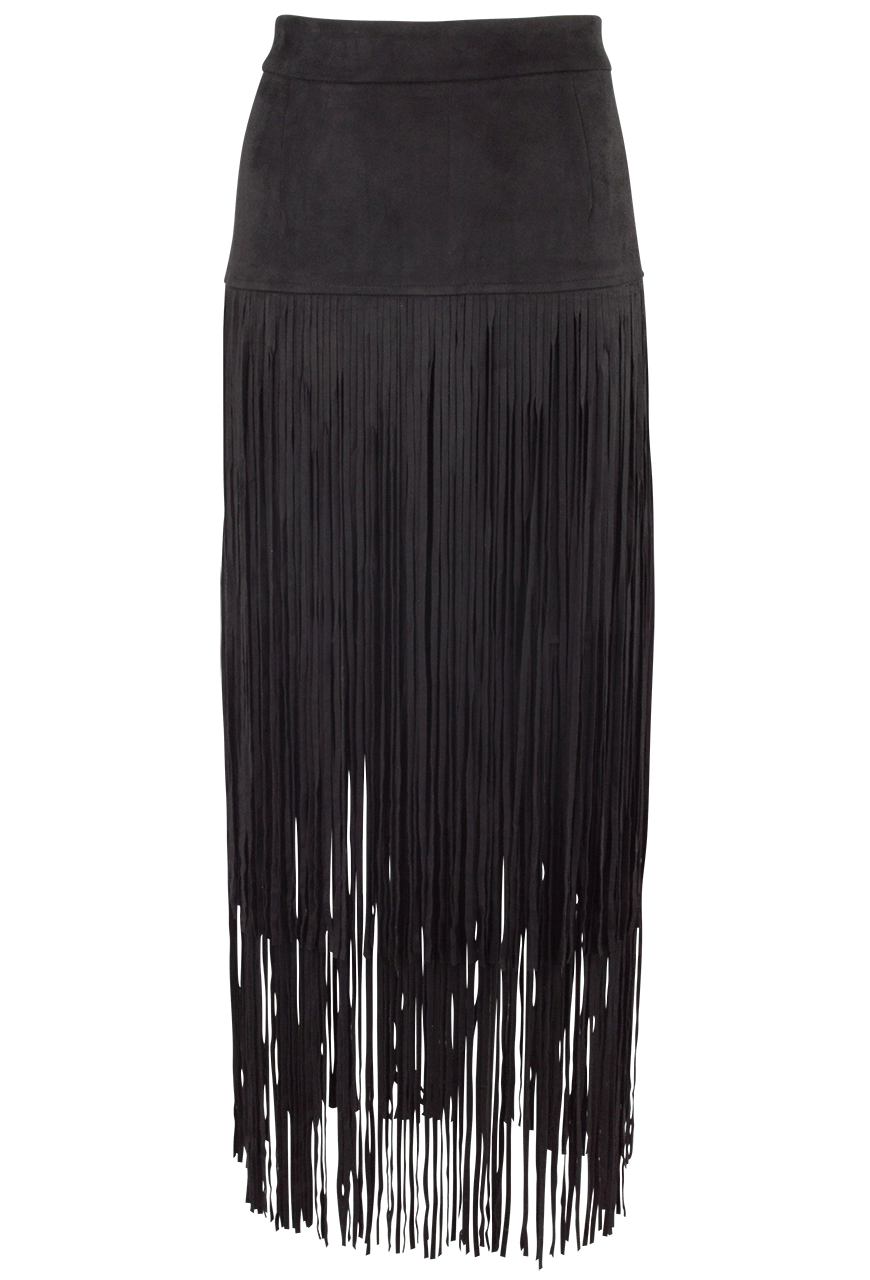 Joh Faux Suede Skirt With Long Fringe Pinto Ranch