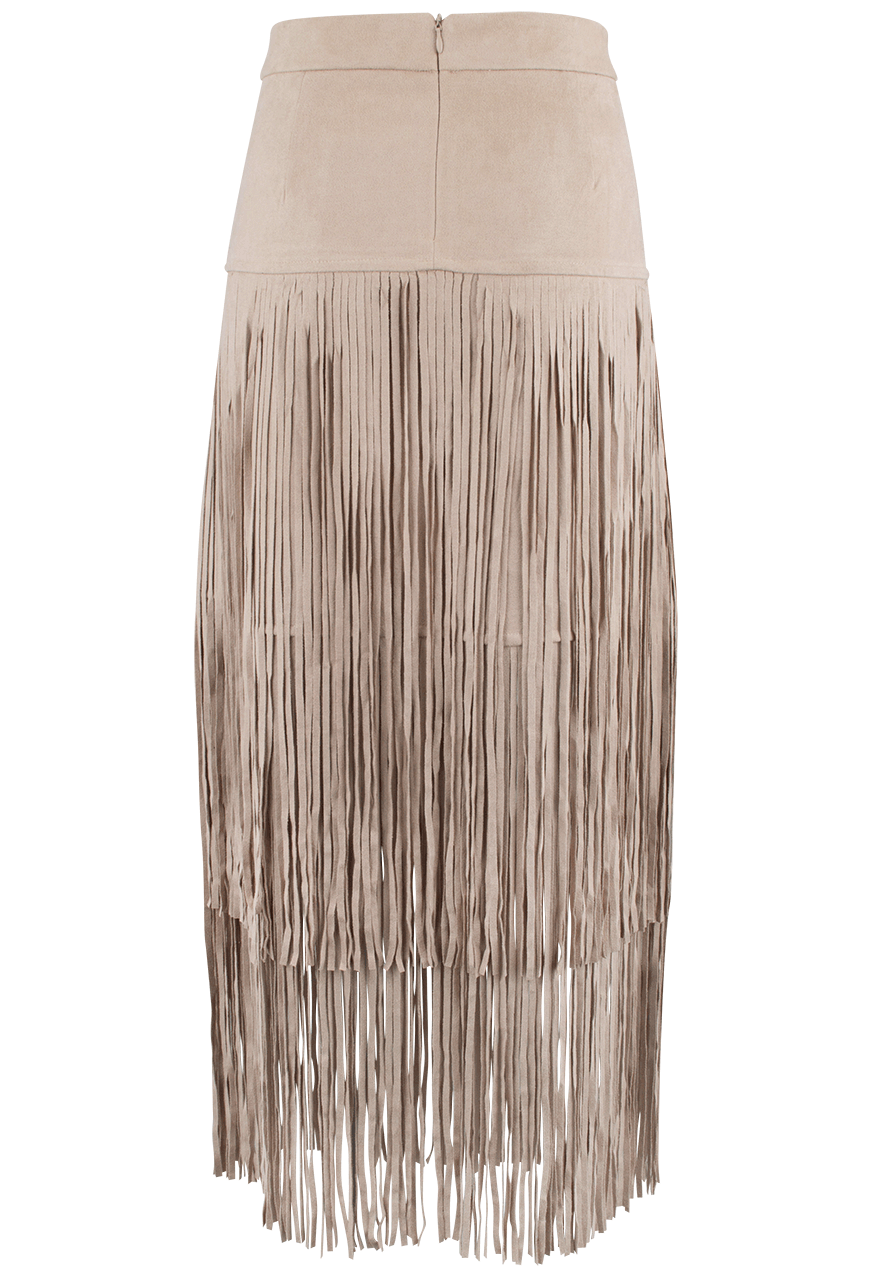 Joh Faux Suede Skirt with Long Fringe - Pinto Ranch