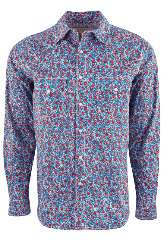Ryan Michael Floral Print Western Shirt - Bluejay - Front