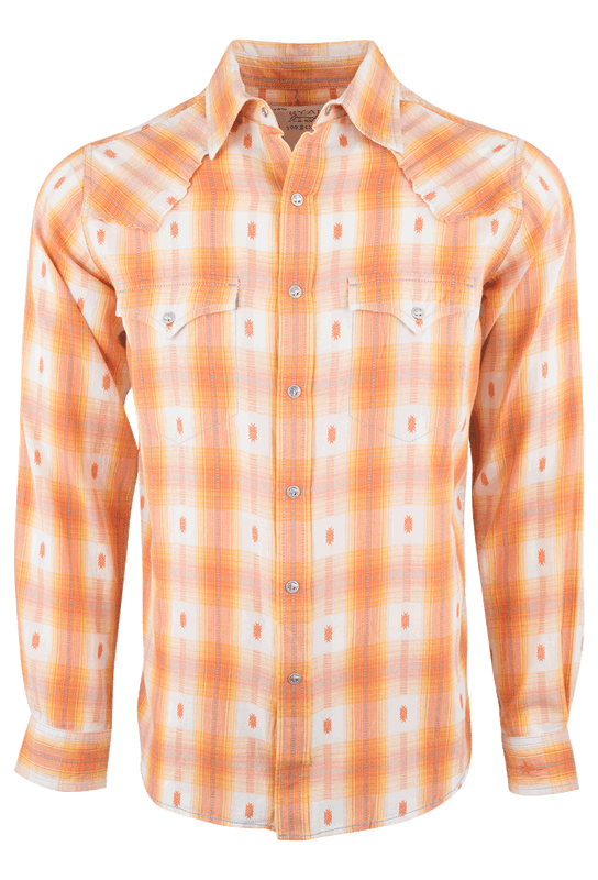 Ryan Michael Ombre Dobby Plaid Snap Shirt - Tangerine - Front