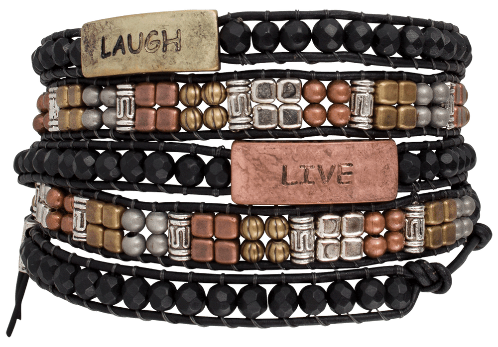 WTW Designs Live, Laugh, Love Wrap Bracelet - Front