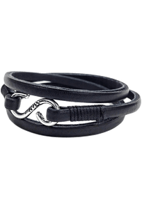 Kenton Michael Genuine Leather Strap and Sterling Triple Clasp Bracelet - Black