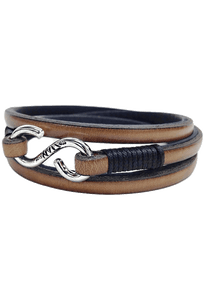 Kenton Michael Genuine Leather Strap and Sterling Triple Clasp Bracelet - Tan