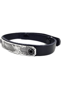 Kenton Michael Sterling Armor Plates with Leather Strap Bracelet - Black