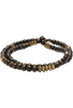 Kenton Michael Wood and Brass Double Wrap Bracelet - Tiger Ebony Wood
