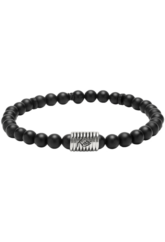 Kenton Michael Stone and Sterling Coil Bracelet - Black Onyx