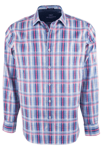 Bugatchi Blue and Pink Linear Plaid Shirt - Front