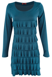 Isle Long Sleeve Cha Cha Dress - Teal - Front