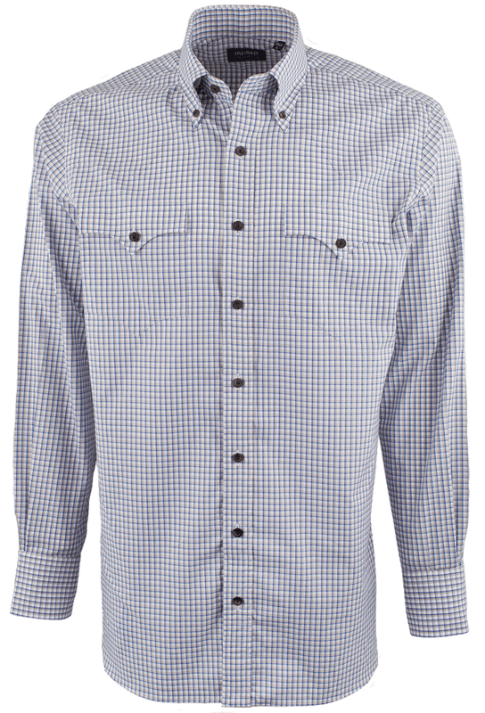 Lyle Lovett for Hamilton Tan with Blue and White Pinpoint Check Shirt - Front