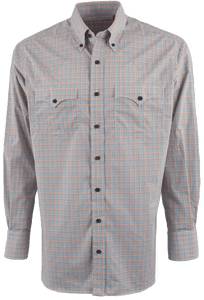 Lyle Lovett for Hamilton Orange with Teal and Tan Poplin Check Shirt - Front